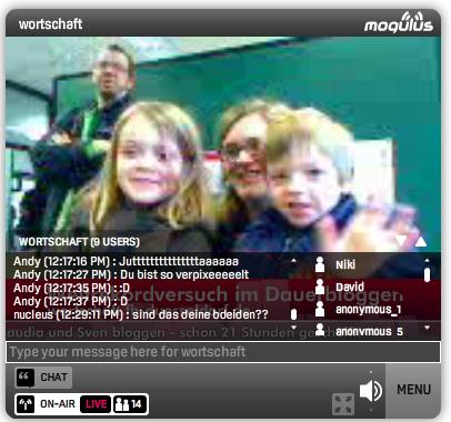 Jutta mit Familie beim Bloggen