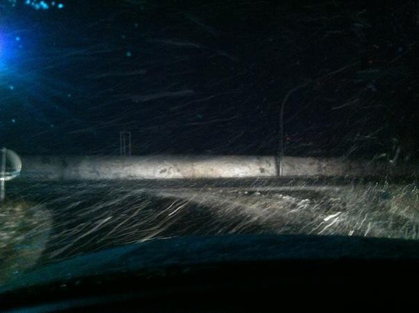 Schnee auf dem morgentlichen Weg ins Büro (und dann massig Stau)